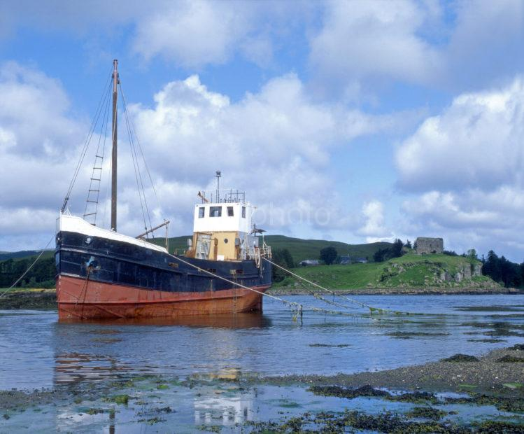Clyde Puffer Rests Near Aros Castle Isle Of Mull