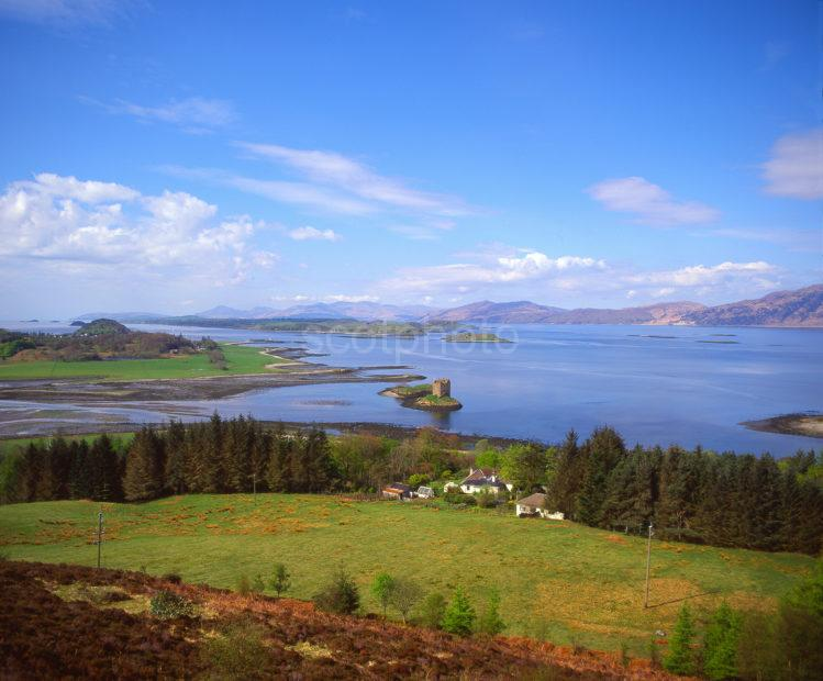 Beautiful Panoramic View Towards Castle Stalker And Surrounding Area Appin Argyll