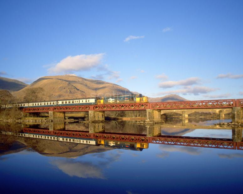 Class 37 407 Crossing Loch Awe With Oban To Glasgow Service