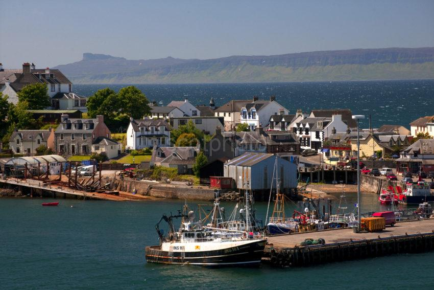 Mallaig Harbour And Town With Eigg 1
