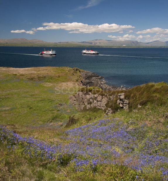 TWO FERRIES PASSING SEEN FROM KERRERA 2013