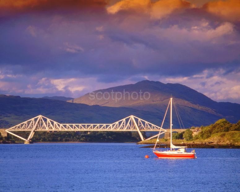 Dramatic Evening Light Over Connel Bridge And Loch Etive Hills Connel Argyll