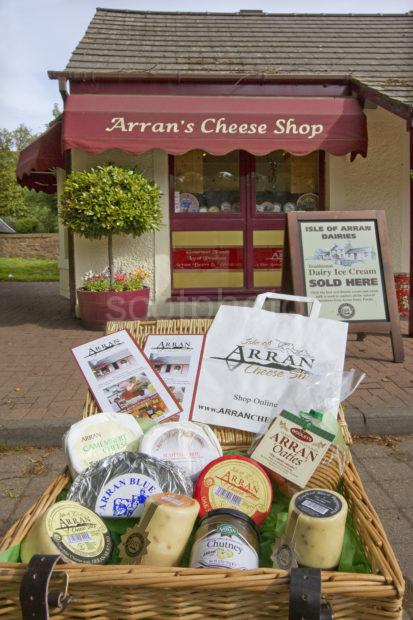 I5D0453 Arran Cheese Selection Outside Factory And Shop Cladach Arran