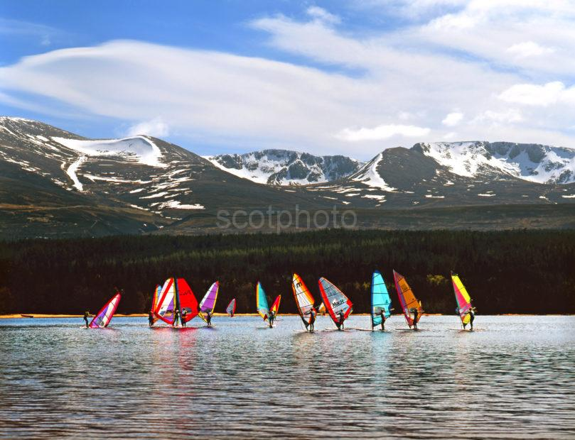 Wind Surfers Loch Morlich Cairngorms