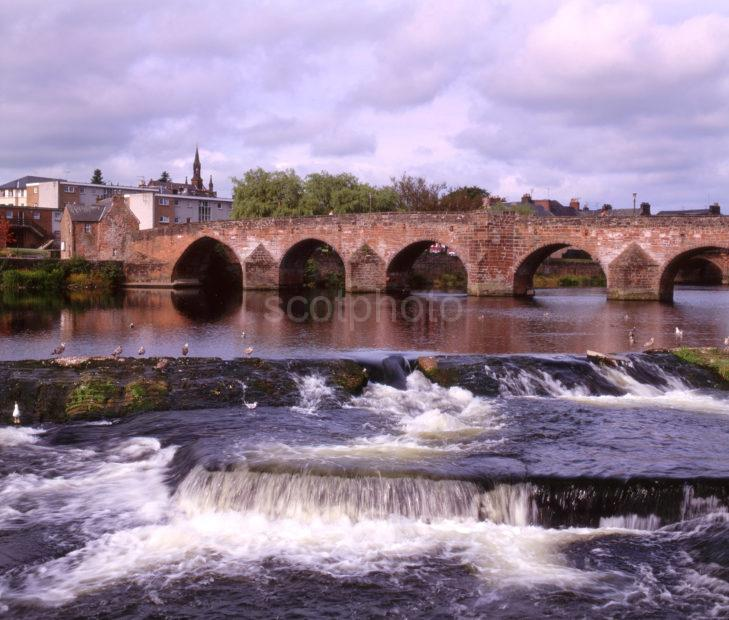 The River Nith And The Old Bridge In Dumfries Dumfrieshire