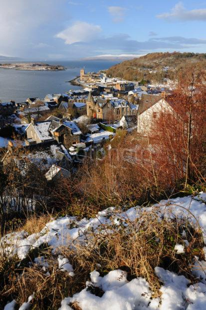 Winter Snow Scene North Side Oban Bay From Tower Oban