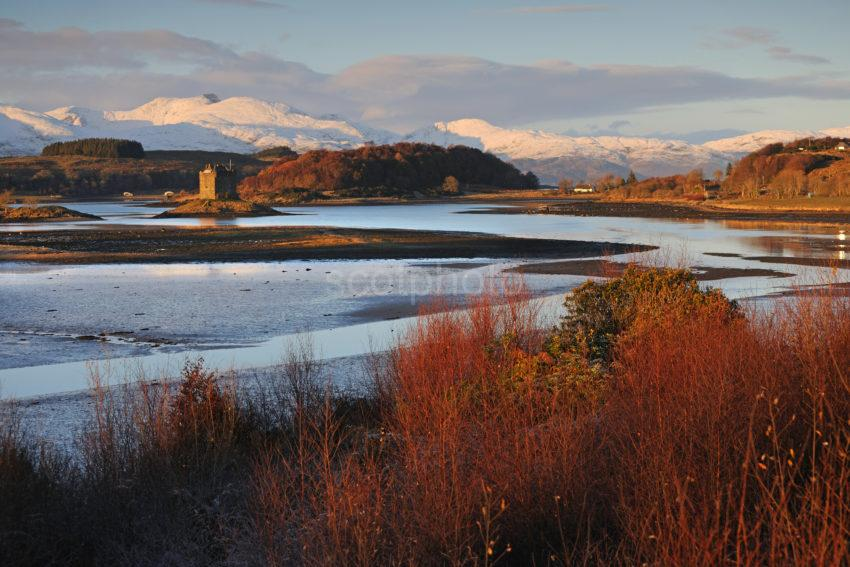 DSC 0293 Warm Wintry Light On Castle Stalker And Morvern Hills Appin Argyll