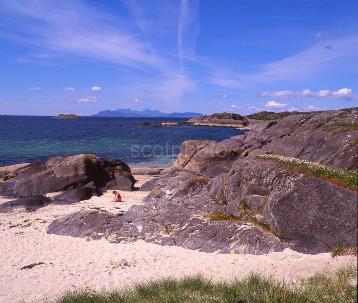 Summer At Ardtoe Beach Towards Eigg And Rhum North West Highlands