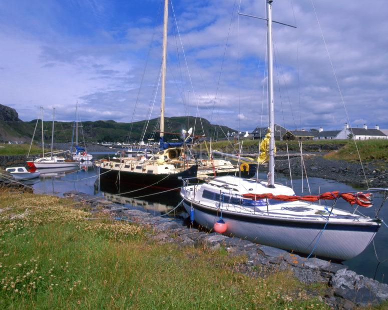 Yachts At Old Jetty On Easdale Island