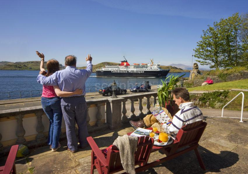 Guests Waving To The Mull Ferry