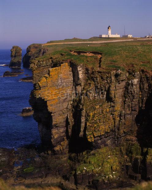 Noss Head Lighthouse From Steep Cliffs Near Wick Caithness
