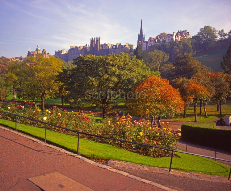 Autumn View From Princes Street Gardens Towards The Mound And Old Town Edinburgh