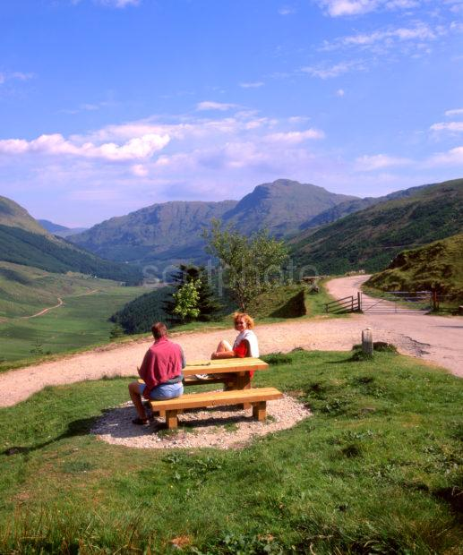 Tourists Enjoy Rest And Be Thankful Glen Croe Viewpoint