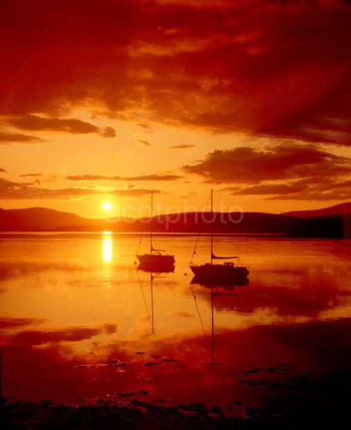 Dramatic Sunset From Connel With Two Yachts Argyll