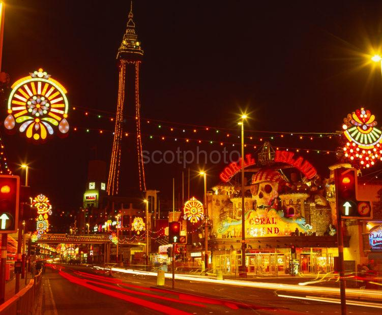 Colourful Scene In Central Blackpool During The Late Summer Illuminations From Promenade Blackpool Lancashire England