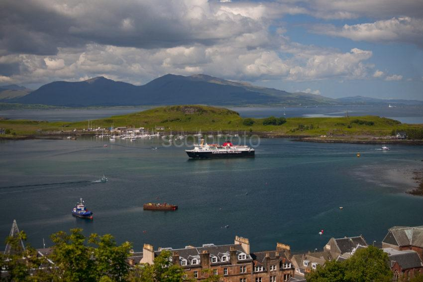 Oban Bay With Mull Ferry Arriving