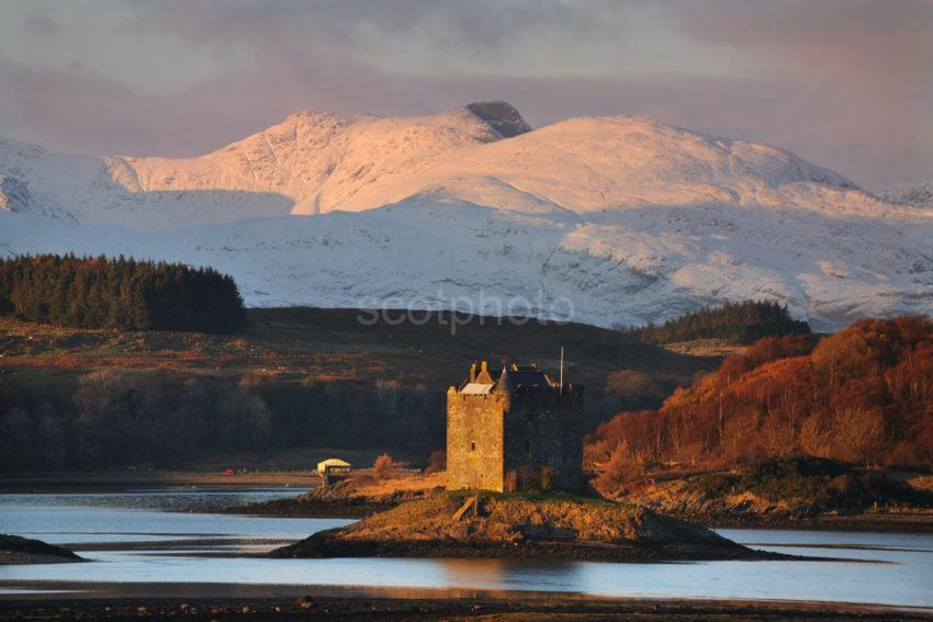 DSC 0304 Evening Wintry Sun Stikes Castle Stalker Appin With Morvern Hills W