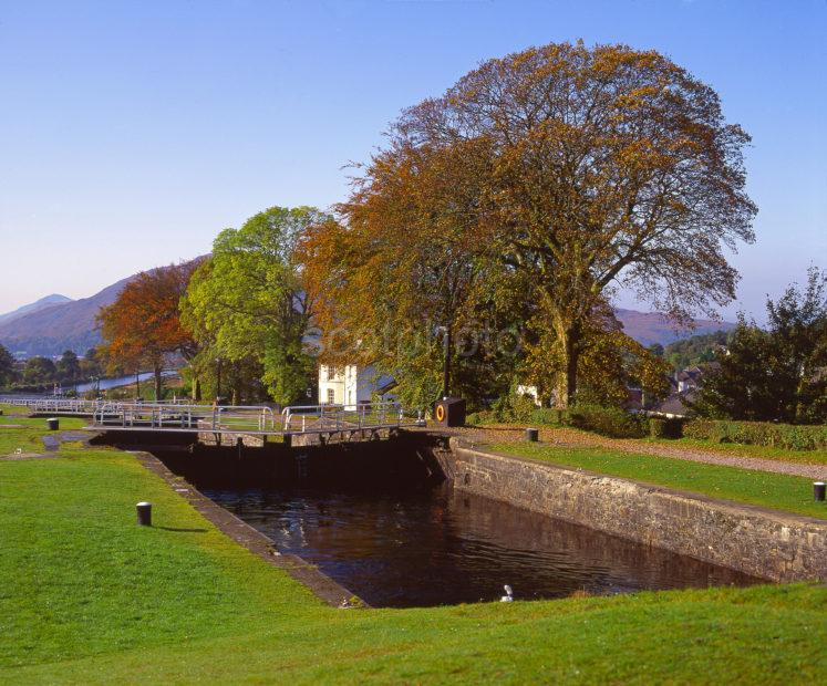 Autumn View Showing The Neptunes Staircase On The Caledonian Canal Corpach Fort William Lochaber