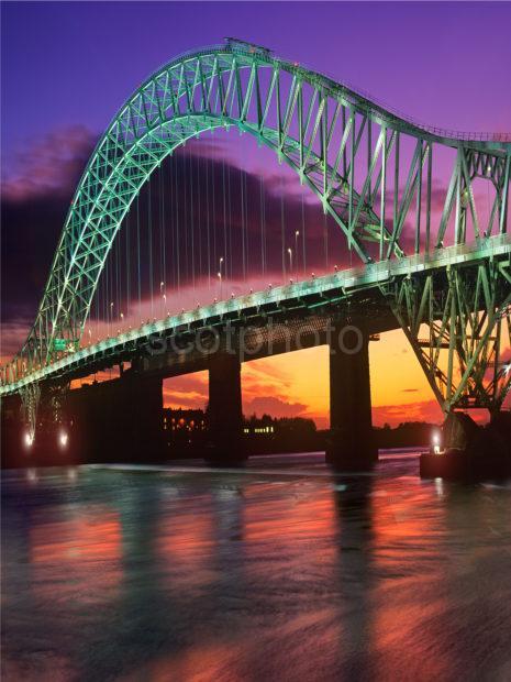 Runcorn Widnes Bridge At Sunset Merseyside