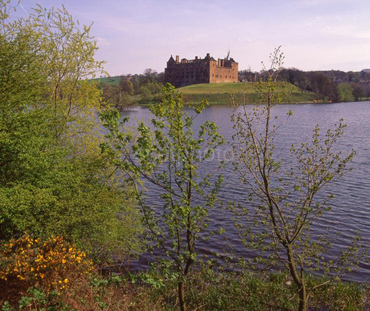 Early Spring Scene From The Shore Of Linlithgow Loch Looking Towards Linlithgow Palace Midlothian