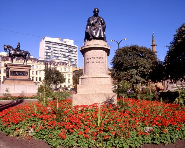 James Watt Statue And Flower Beds In George Square Glasgow