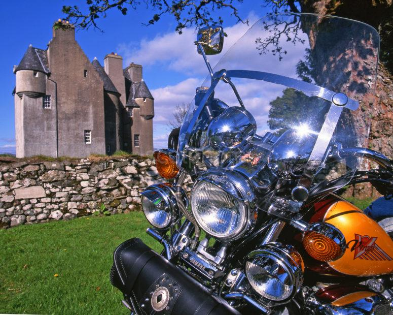 CLASSIC BIKE AND SCOTTISH CASTLE ARGYLL