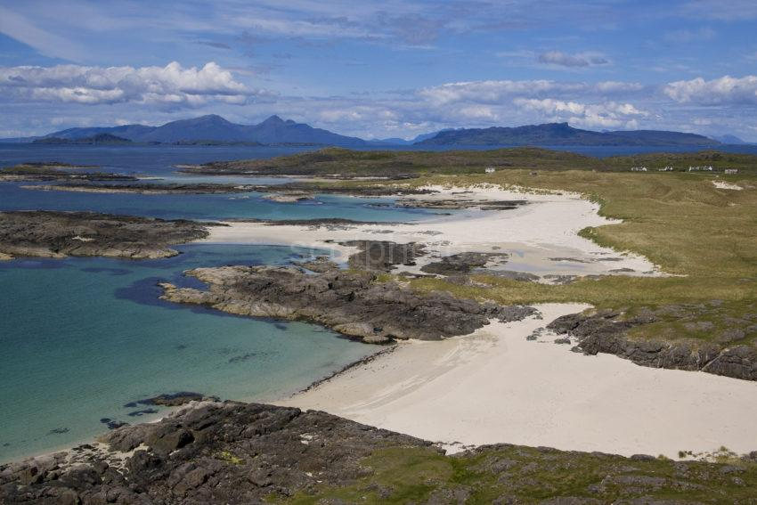 Great Shot Of Eigg And Rum With Sanna Bay Sands Ardnamurchan