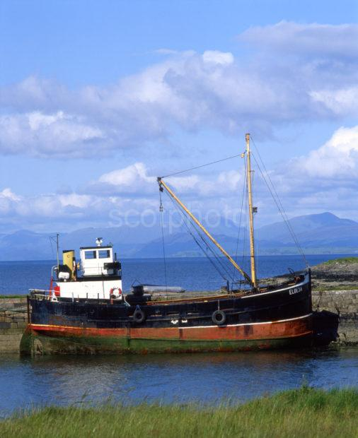 Puffer Boat Eldesa At Craignure Pier Isle Of Mull 80s