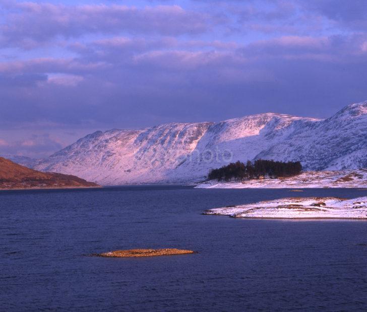 Winter Scene Loch Cluanie Glen Shiel