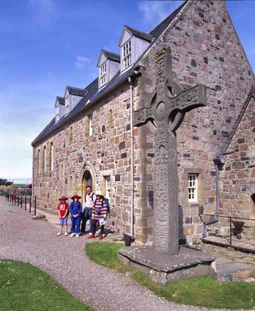Tourists Near St Johns Cross At Iona Abbey Island Of Iona Argyll