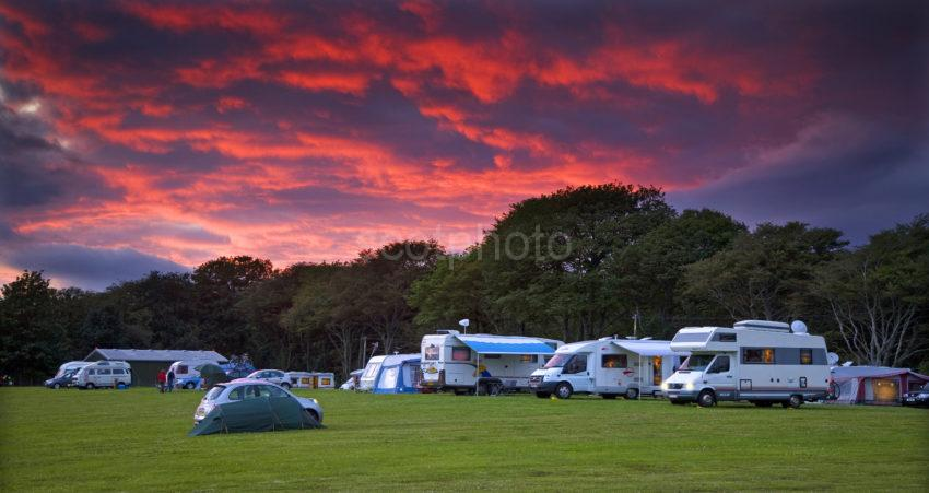 Camping And Caravan Site At Sunset North Argyll