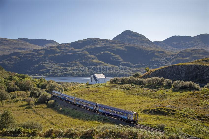0d5f3232 198a9839 Scotrail 156 Passing Lochailort Church Heading For Mallaig Sept 2019