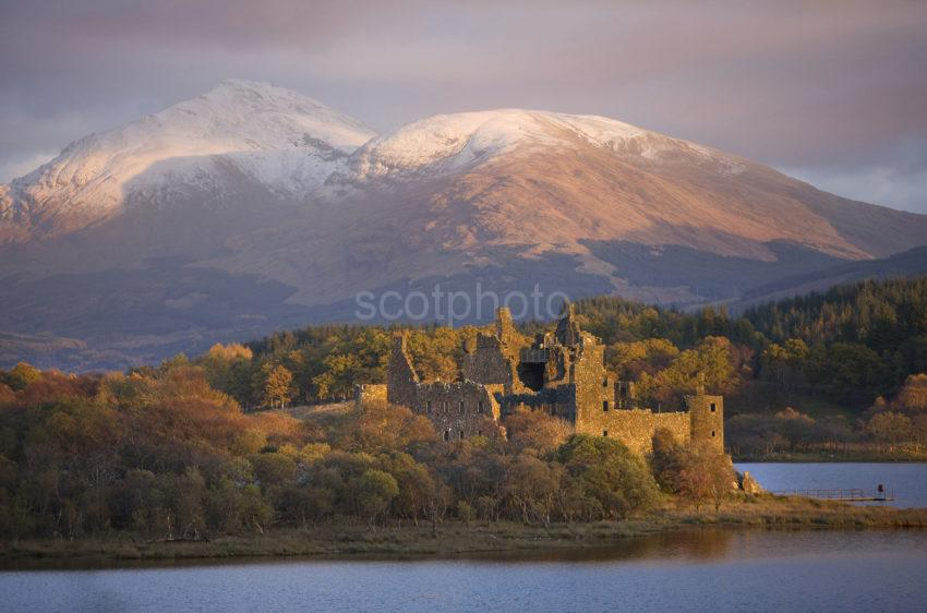 0I5D9996 Evening Light Strikes Kilchurn Castle And Ben Lui Loch Awe