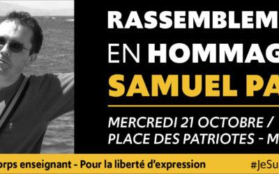 Rassemblement hommage à Samuel Paty mercredi 21 octobre