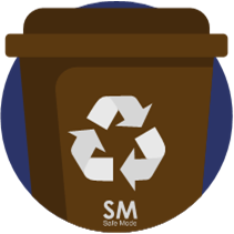 Caneca café para productos metálicos en punto ecológico