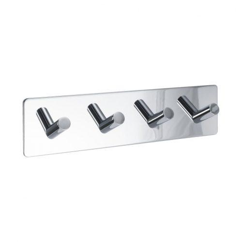 fyrkrok 4-krok fyra krokar självhäftande handdukskrok silver metall för badrum