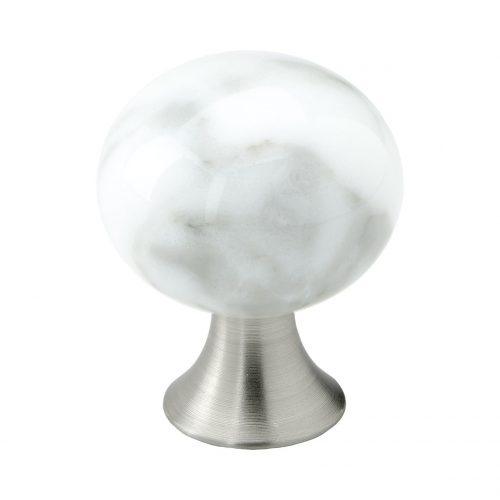 exklusiv knopp lyxig marmor vit vitt sten mattborstad nickel rostfritt stål