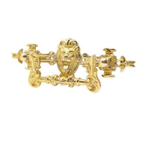 möbelhandtag mässing lejon i form av ett lejon med stängd mun utan nyckelhål handtag för gamla möbler