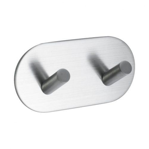 mattborstad nickel rostfri look rundad självhäftande för badrum dubbelkrok