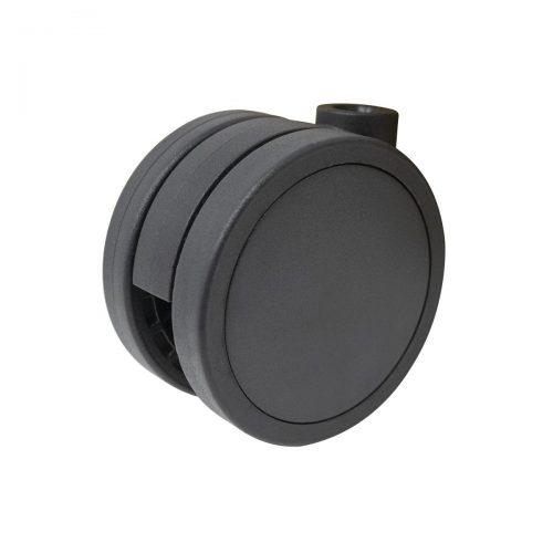 dubbelhjul svart plast 65mm
