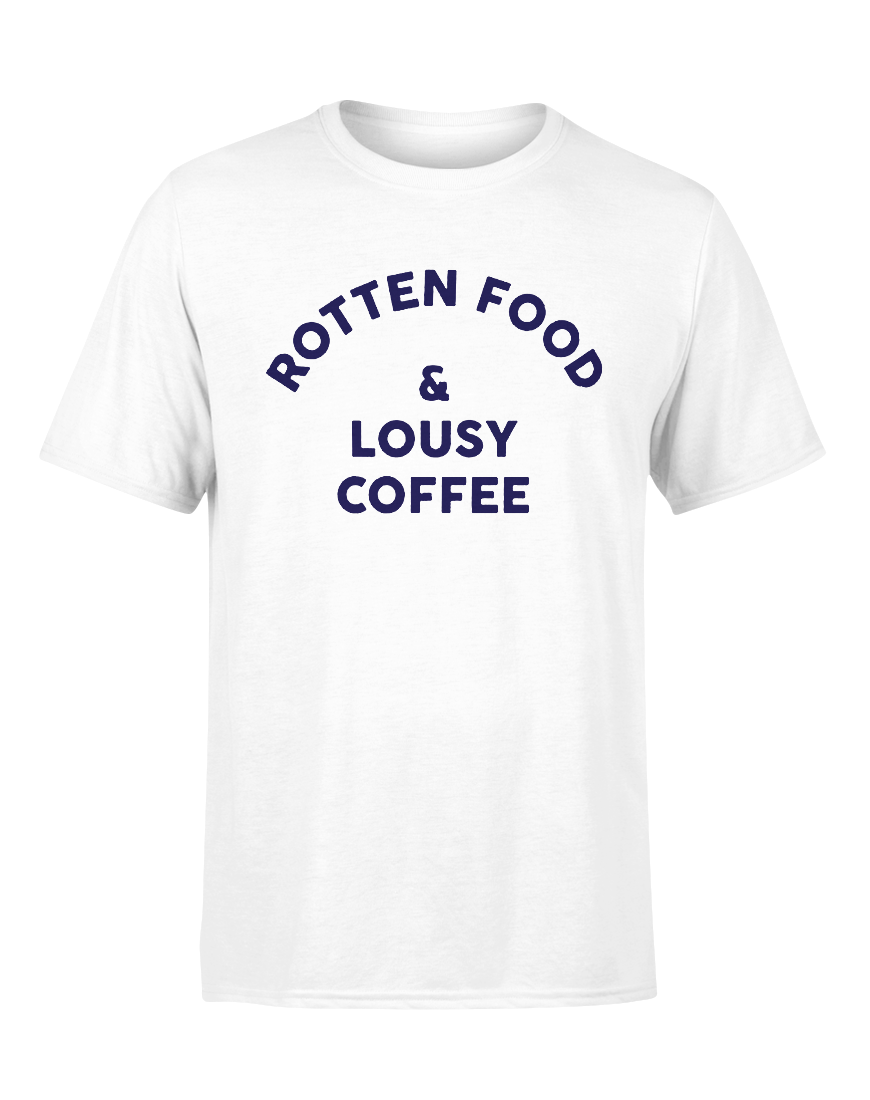 Rotten Food Lousy Coffee Inspired By Joe Cocker White Adult T-Shirt