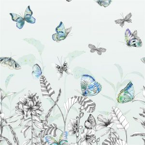Tapeter Mandora Wallpaper Papillons Eau De Nil PDG1058/02 PDG1058/02 Mönster