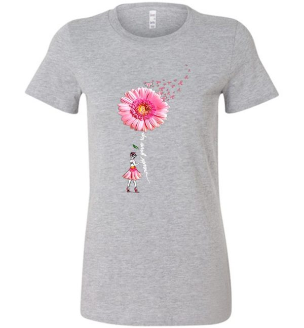 Get Now Pink Daisy Flower Never Give Up Breast Cancer Unisex Tshirt