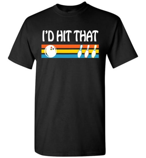 Retro Color Line Id Hit That With Bowling Unisex Tshirt
