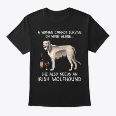 Irish Wolfhound And Wine Funny Dog Shirt Unisex Tshirt