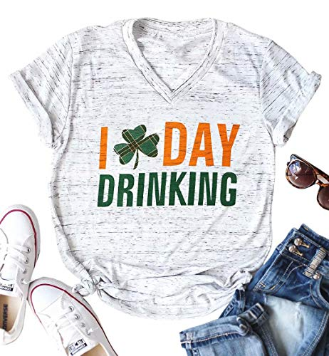 I Day Drinking T-Shirt Women St Patricks Day Short Sleeve V Neck Tees Cute Graphic Plaid Shamrock Unisex Tshirt