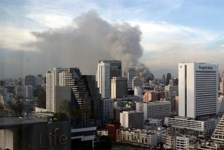 Downtown Bangkok burning