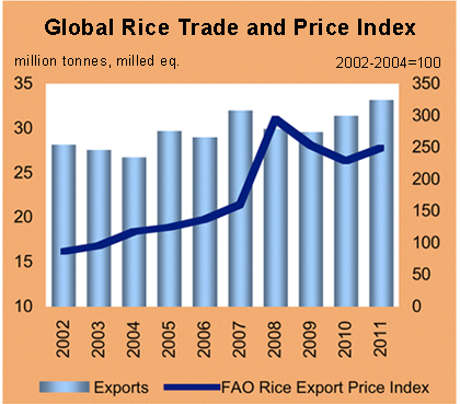 Rice price and exports