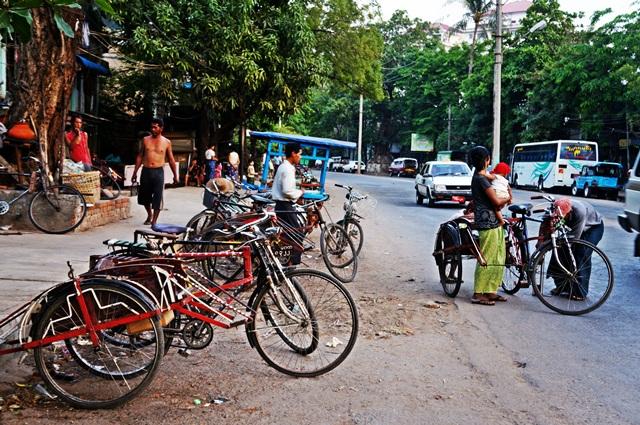 bicycles Myanamar street view
