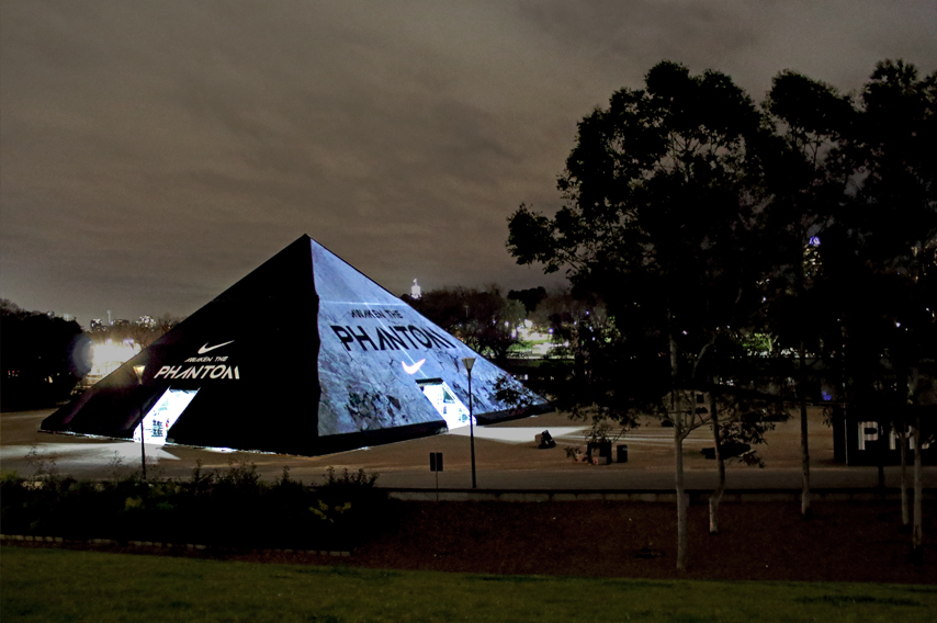 3D Mapping Video Projection of nike brand on tent